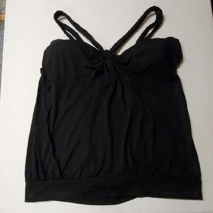 Kiwi 3X tank top, black with braided straps
